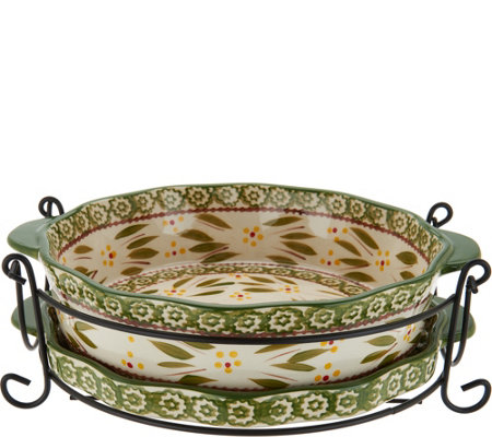 "Temp-tations Old World 9"" Pie Plate with Lid-it & Rack"
