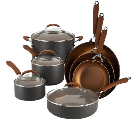 CooksEssentials Hard Anodized 11-Piece Color Nonstick Cookware Set