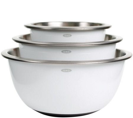 OXO Good Grips 3-Piece Stainless-Steel Mixing Bowl Set - Whit