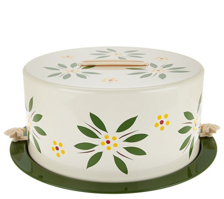 """As Is"" Temp- tations Old World Covered Decorative Cake Carrier"