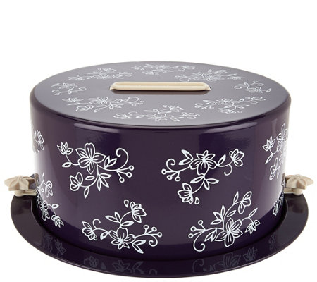 """As Is"" Temp- tations Floral Lace Decorative Covered Cake Carrier"
