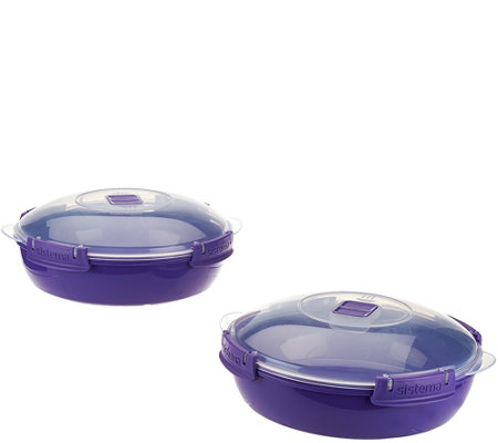 Sistema Set of 2 Microwave Round Domed Casseroles