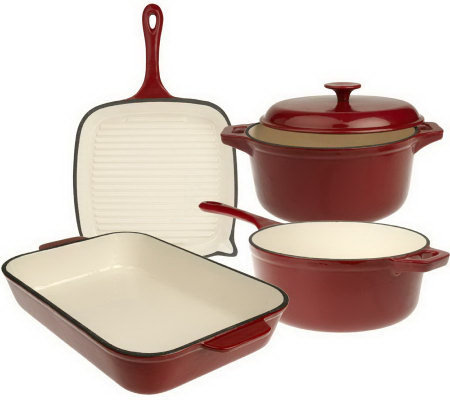 Technique Enameled Cast Iron 5-piece Cookware Set