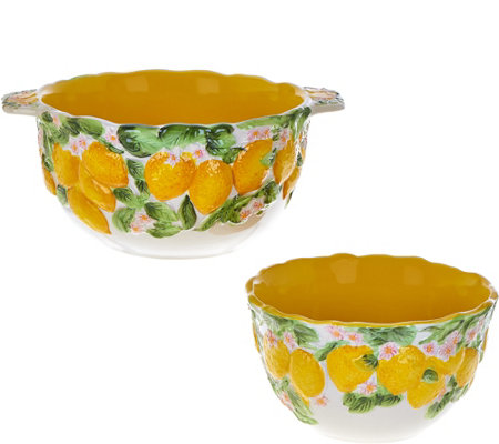 Temp-tations Set of 2 Figural Fruit Bowls