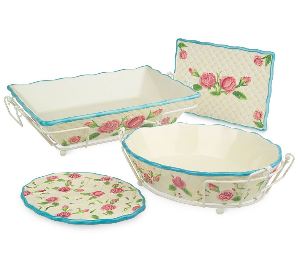 Temp Tations Rose 4 Piece Oven To Table Set W/Ceramic Trivets   Page 1 U2014  QVC.com