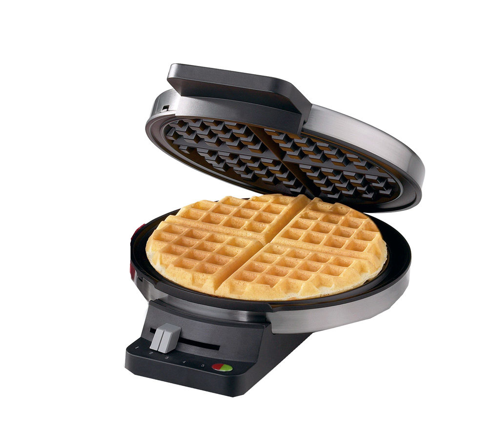 cuisinart round classic waffle maker -chrome/black - page 1 — qvc