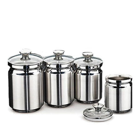 Kitchen Canisters Stainless Steel | Tramontina 4 Piece Stainless Steel Canister Set Page 1 Qvc Com