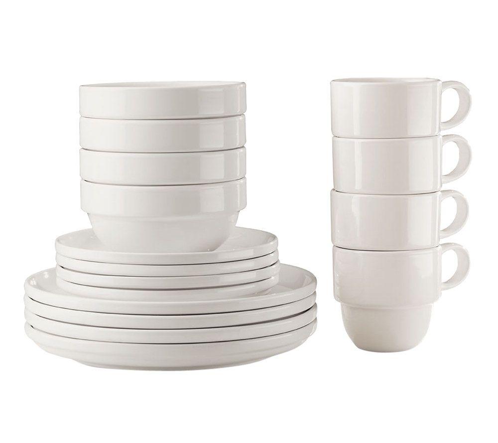 Tabletops Gallery White Stax Living 16 Piece Dinnerware Set U2014 QVC.com