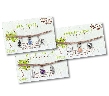 Greenies Set of 3 Bracelets w/ Message Flower Card