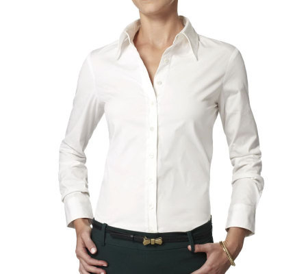 The Shirt L/S Fitted Cotton Blouse with No Gap Technology