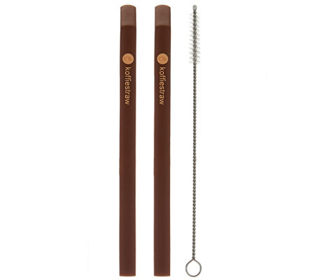 Koffie Straw Set of 2 Reusable Silicone Coffee Straws