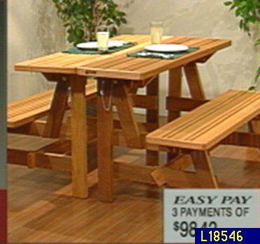 Outdoor Cedar Convertible Bench To Picnic Table U2014 QVC.com