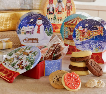 Ships 11/7 Cheryl's Set of 5 Snow Globe Tins w/ 40 Piece Treats - M51200