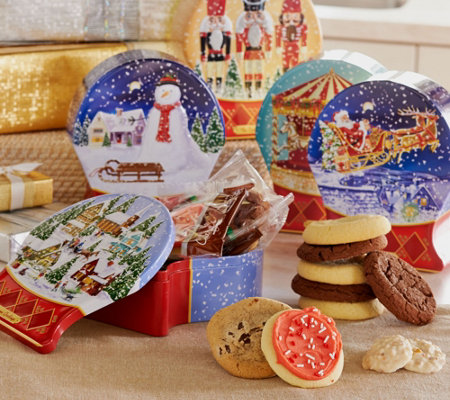 Ships 11/7 Cheryl's Set of 5 Snow Globe Tins w/ 40 Piece Treats