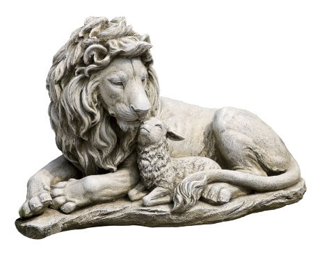 Lion and Lamb Garden Figure