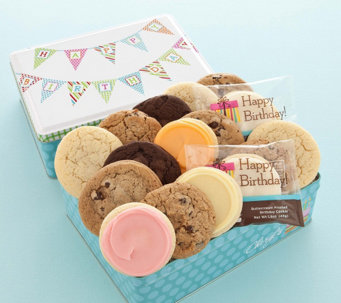 Cheryl's Birthday Pennant Tin - 16 Assorted Cookies - M115402