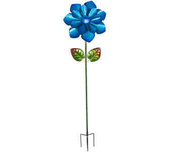 Flower Garden Stake with LED Solar Crackle Glass Ball - M49602
