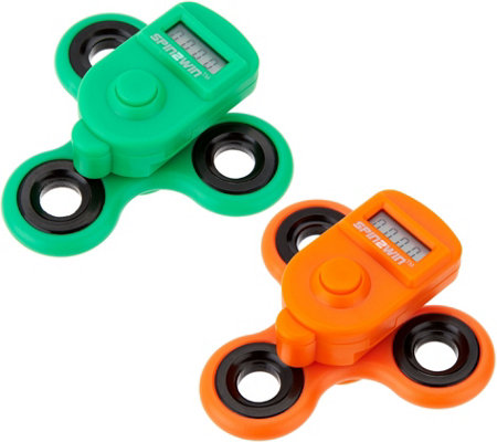 Spin2Win Set of 2 Fidget Spinners w/ Performance Trackers