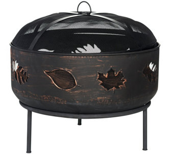 Plow & Hearth Fall Leaves Fire Pit with Spark Guard - M50904
