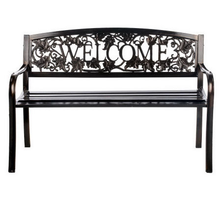 Outdoor Metal Scroll Design Welcome Bench Page 1