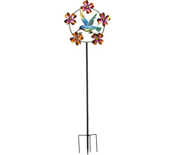 Plow & Hearth Garden Stake w/Colorful Icon and Spinning Flowers - M49005