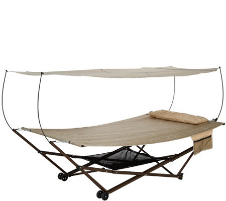 Bliss Hammocks 2-Person EZ Stow Hammock With Canopy Wheels and Bag