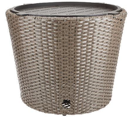 ATLeisure Faux Wicker Hose Bowl and Side Table with Removable Tray