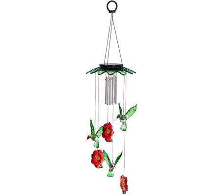 Plow & Hearth Glass Top Solar Garden Mobile with Windchime
