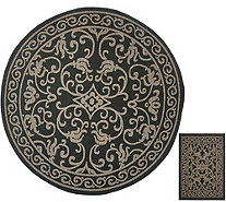 "Veranda Living 84"" Round Indoor/Outdoor Scroll Rug with Bonus Doormat - M51807"