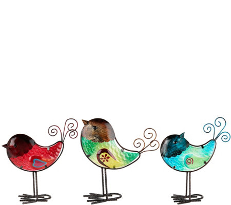Plow & Hearth Set of 3 Colorful Glass Birds
