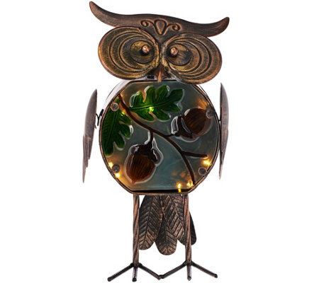 Plow & Hearth Indoor/Outdoor Metal Owl w/ Illuminated Glass Body