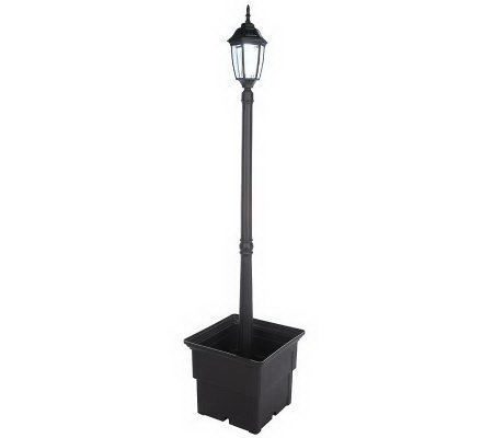 Woodbridge Single LED Solar Lamp Post with Square Planter