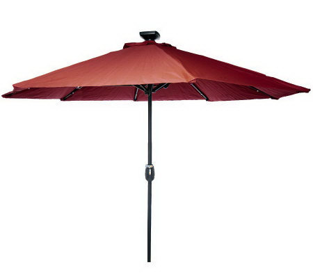 Remote Controlled 9' Olefin Market Umbrella w/Solar Lights