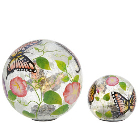 Plow & Hearth Set of 2 Hand Painted Solar Glass Globes