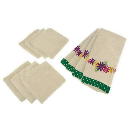 Don Aslett 10-pc Floral Microfiber Kitchen Towel & Cloth Set