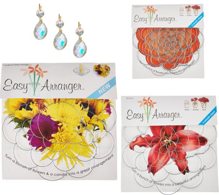 Easy Arranger Set of 8 Floral Arranging Guides w/ Glass Gem Accents