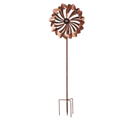 """As Is"" Plow & Hearth Wind Spinner w/Solar LED Lights"