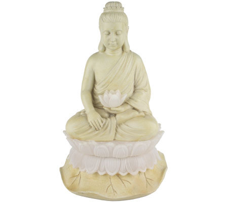 Garden Buddha Statue with Solar-Powered Flower and Base