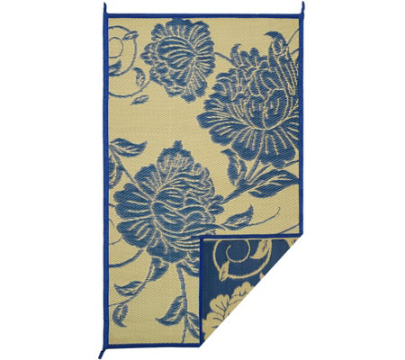 Barbara King Floral Dance 5x8 Reversible Outdoor Mat