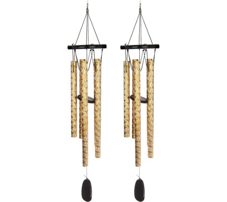 Set of 2 Etched Melody Wind Chimes by Evergreen