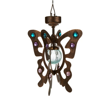 Compass Home Solar Hanging Wind Spinner with Crackle Glass