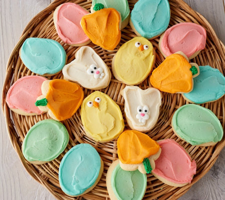 Cheryl's 60 Piece Easter Buttercream Frosted Cutout Cookies