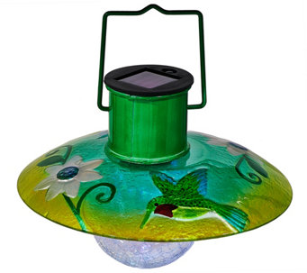 Glass & Metal Hanging Solar Lantern by Evergreen - M49118