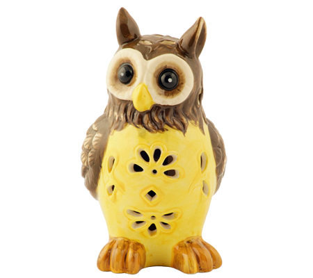 Solar Garden Light Ceramic Owl