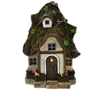 Plow & Hearth Battery Operated Lighted Garden Fairy House - M48521