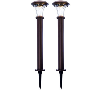 Paradise Set of 2 Rotating Solar Bollard Path Lights - M48621