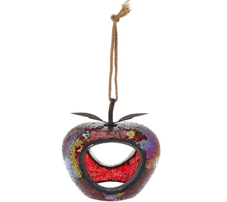 Glass Mosaic Fruit Shaped Fly-Thru Birdfeeder By Evergreen