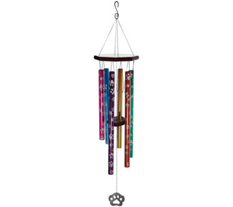 "JW Stannard 36"" Hand-Tuned Paw Print Wind Chime with On/Off Clapper - M48522"