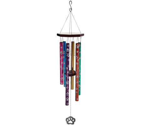 "JW Stannard 36"" Hand-Tuned Paw Print Wind Chime with On/Off Clapper"