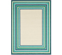 Veranda Living Indoor/Outdoor 5x7 Multi-Color Stripe Border Rug - M55723